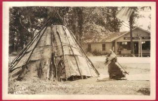 RPPC CHIPPEWA INDIAN BIRCH BARK TEEPEE HEAD DRESS PIPE ONAMIA MN