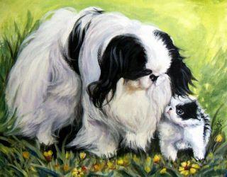 Japanese Chin Dog Puppy Original Painting J McNally