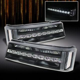 Black 03 06 Silverado Avalanche Pickup LED Strip Bumper Signal Lights