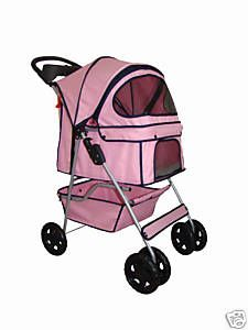 BestPet Pink Pet Dog Cat Stroller Carrier w Raincover P