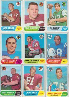 1968 Topps Complete 215 Hi Grade Football Set Lot Bob Griese RC 196
