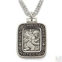 Square Sterling Silver Saint Christopher Medal Necklace