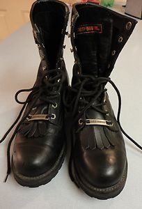 HARLEY DAVIDSON BOOTS LACE UP SIZE 7 STOCK 91023 BLACK LEATHER