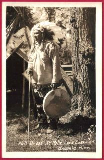RPPC CHIPPEWA Indian Birch Bark Teepee Head Dress Drum Onamia MN