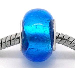 20 Dark Blue Foil Lampwork Glass European Charm Beads 14x10mm