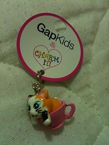 Charm It Kids Kitten in Tea Cup Pink Enamel Charm Multi New Charm Gift