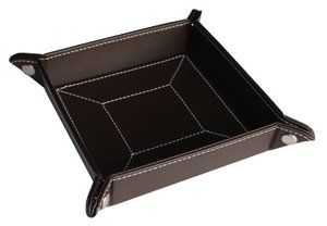 CHOCOLATE BROWN LEATHER COIN TRAY CATCHALL KEYS PHONE JEWELRY VALET