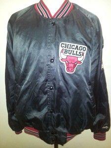 Vintage Vtg Chicago Bulls Varsity Satin NBA Jacket Chalkline