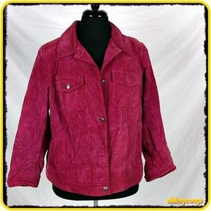 CHARTER CLUB Soft Suede LEATHER Jacket Womens Size 1X Purple buttoned