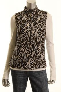 Charter Club New Black White Quilted Velour Animal Print Full Zip