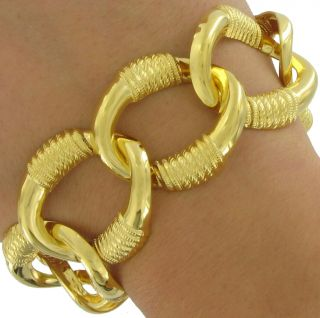 Chunky Gold Tone Chain Link Toggle Bracelet