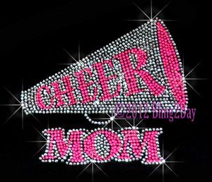 Neon Pink Cheer Megaphone Mom Iron on Rhinestone Transfer Hot Fix