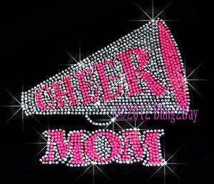 Neon Pink Cheer Megaphone Mom Iron on Rhinestone Transfer Hot Fix