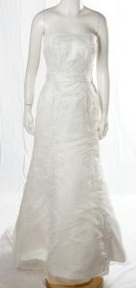 Christina Wu Ivory White Strapless Fit N Flare Beaded Wedding Gown