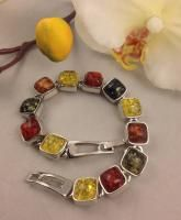 YELLOW, RED , GREEN & HONEY SQUARE PRESSED BALTIC AMBER TENNIS