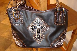 New Western Black w/ Brown Accents Rhinestone Purse Handbag w/ Cross