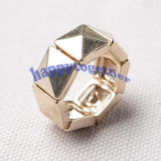 Vintage Combine Pyramid Flexible Adjustable Finger Ring J0207 Gold