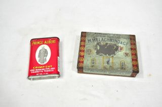 Vintage 2 Melachrino Co Egyptian Cigarettes Tin Canister Prince Albert
