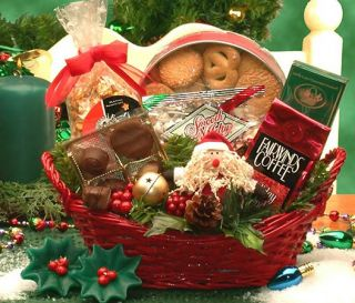 This red holiday wicker tray bears the Holiday Cheer gift basket.