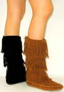 Cherokee Indian Faux Suede Moccasin Fringe Tassel Flat Boots Mid Calf
