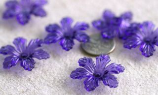 12 Blue Cherry Blossom Flower Beads 28mm P160B Pick