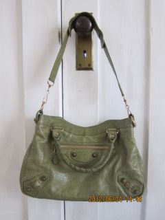 Authentic Balenciaga Town Olive Green Giant Rose Gold
