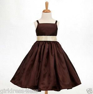 Brown Chocolate Spaghetti Straps Bridesmaid Flower Girl Dress 18M 2 4