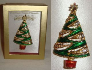 Christopher Radko Rhinestone Christmas Tree Pin Brooch XMAS MIB