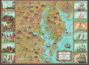 1959 Chesapeake Bay Table Place Mat Color Map National Brewing Co