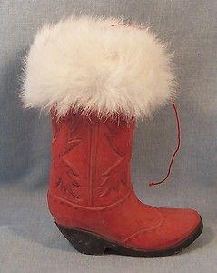 Darling Small Western Santas Cowboy Boot Ornament Wood