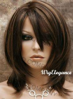 Wonderful Straight Layered Chestnut Brown Blond Mix Wig