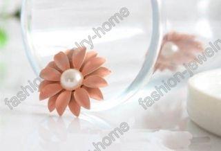 Lovely Fashion Chrysanthemum Flower Pearl Earrings Hot