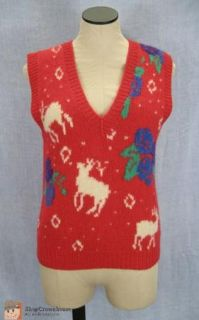 Womens J Christopher Red Ugly Christmas Reindeer Wool Sweater Vest Sz
