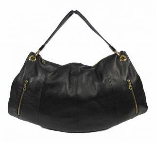 Christopher Kon Black PEBBLED Leather Hobo Shoulder Bag Purse Large