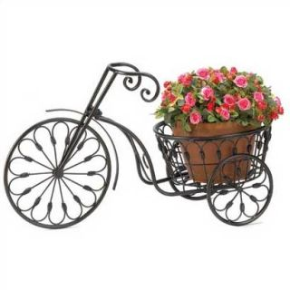 WROUGHT IRON OLD FASHIONED ANTUIQUE LOOK TRICYCLE PLANT FLOWER STAND