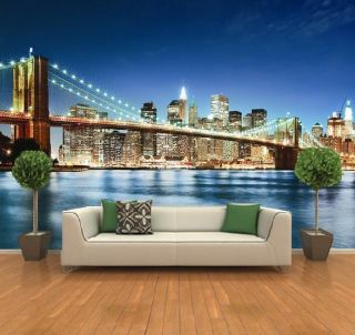 new york city night skyline wall mural large mirror new. Black Bedroom Furniture Sets. Home Design Ideas