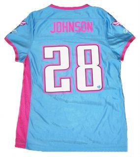 Chris Johnson 28 Titans Womens Small Jersey Pink Blue Reebok NFL