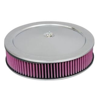 Summit Racing Chrome Air Cleaner with Reusable Filter 14 Dia Round