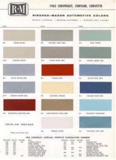 1962 Chevy Paint Color Sample Chips Card Colors