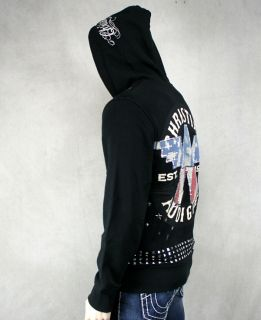 Christian Audigier Mens Bikers Studded Hoodie Stones
