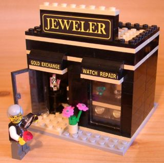 CUSTOM JEWELERS SHOP set for town city train police LEGO jeweller gift