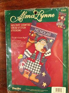 Counted Cross Stitch Christmas Stocking Kit to All A Good Night