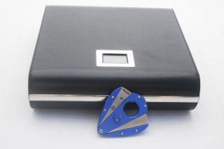 NEW MARQUIS TRAVEL CIGAR HUMIDOR BOX & XIKAR XI1 BLUE STAINLESS STEEL