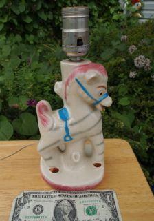 CHILDS KIDS ART POTTERY VTG HORSE TABLE LAMP BASE