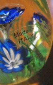 Italy Murano Egg Shaped Floral Art Glass Paperweight