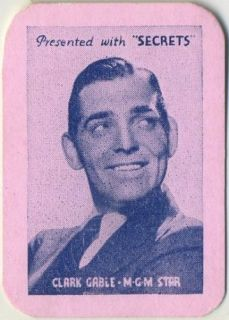CLARK GABLE Vintage 1935 Secrets Mini Playing Card Movie Star