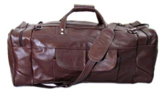 Border Leather Chula Vista Large Carry on Leather Duffel Bag Brown