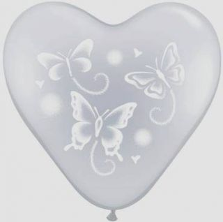 15 Heart Shape Clear Wispy Butterfly Wedding Party Balloons