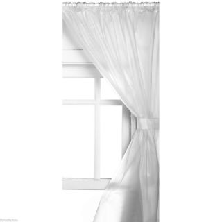 FROSTED SEMI CLEAR VINYL BATHROOM  SHOWER WINDOW CURTAIN ~ TIE BACKS
