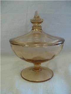 Vintage Pressed Glass Lidded Footed Candy Dish Light Amber Color